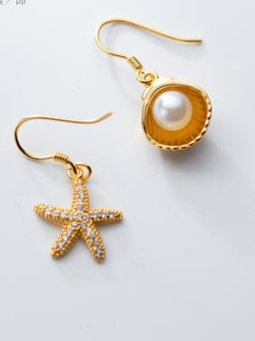 925 Sterling Silver With Starfish shell Trendy Earrings