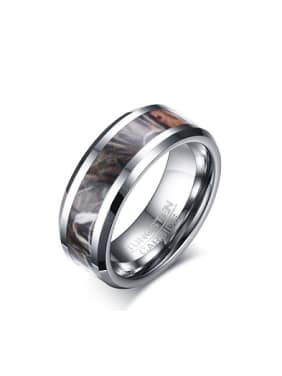 Trendy Camouflage Pattern Design Geometric Tungsten Ring
