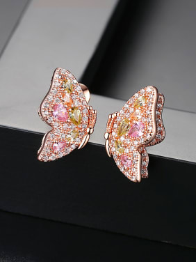 Copper With Cubic Zirconia Romantic Butterfly Friendship Earrings