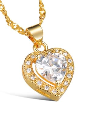 Copper With 18k Gold Plated Classic Heart Wedding Necklaces
