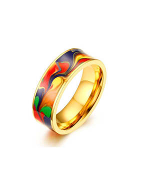 Fashionable Multi Color Gold Plated Glue Titanium Ring