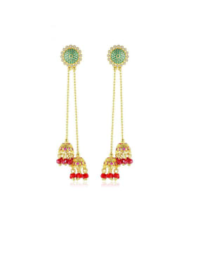 Copper With Gold Plated Trendy Flower Threader Earrings