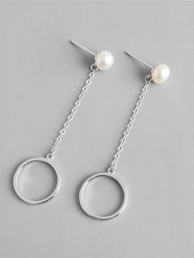 925 Sterling Silver With Platinum Plated Personality Round Stud Earrings