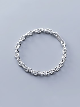 925 Sterling Silver With Platinum Plated Simplistic One word buckle Bracelets