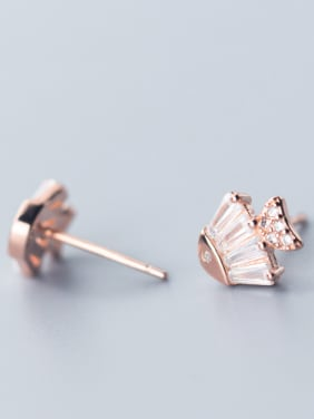 925 Sterling Silver With Rose Gold Plated Cute Fish Stud Earrings