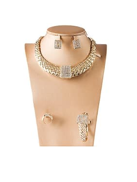 Lattice Rhinestones Colorfast Four Pieces Jewelry Set