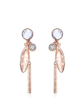 Trendy Feather Shaped Rose Gold Plated Turquoise Drop Earrings
