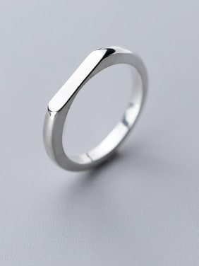 925 Sterling Silver With Platinum Plated Simplistic Smooth Geometric Band Rings