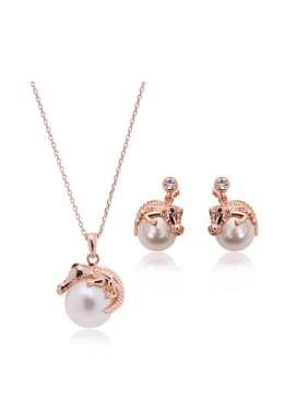 Alloy Rose Gold Plated Fashion Artificial Pearl Crocodile Two Pieces Jewelry Set