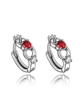 Elegant Red Zircon White Gold Plated Clip Earrings