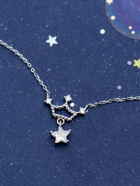 925 Sterling Silver With Silver Plated Personality Crown Star Necklaces