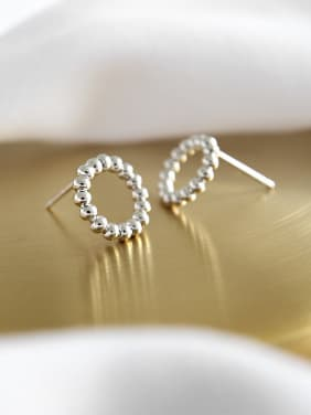 925 Sterling Silver With Silver Plated Classic Round Stud Earrings
