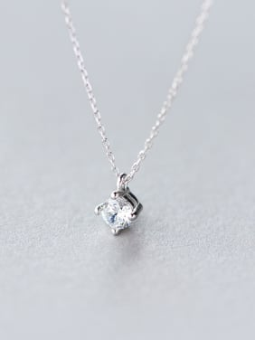 S925 Silver Single Diamond Sweet Short Necklace