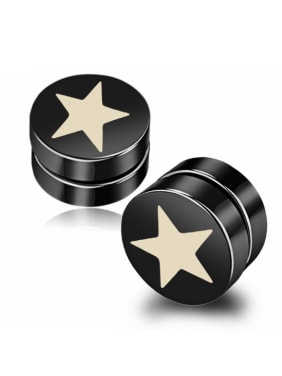 Stainless Steel With Black Gun Plated Personality Star Stud Earrings