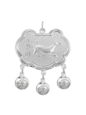 Ethnic style 999 Silver Zodiac Dog Children Bells Longevity Lock Pendant