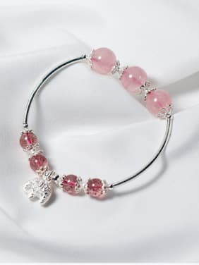 925 Sterling Silver With elephant & strawberry crystals Bracelets