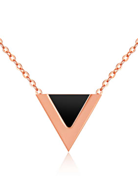 Stainless Steel With Rose Gold Plated Simplistic Triangle Necklaces
