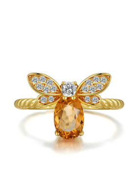 Natural Yellow Crystal Small Honeybee Ring