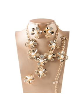 Flower Artificial Pearl Four Pieces Jewelry Set