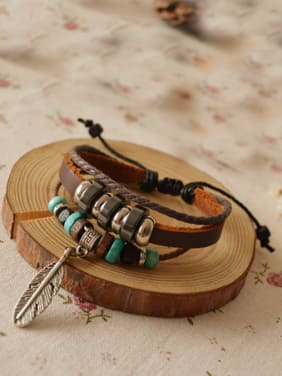 Multi-layer Leaf Shaped Cownhide Leather Bracelet