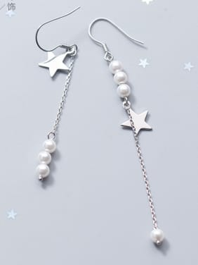 Sterling Silver Star imitation pearl unsymmetrical Earrings