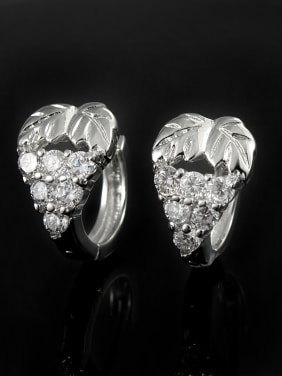 18K Platinum Plated Grape 4A Zircon Clip Earrings