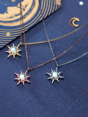 925 Sterling Silver With Cubic Zirconia Simplistic Star Necklaces