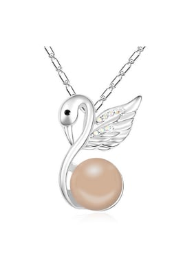 Fashion Imitation Pearl-accented Swan Pendant Alloy Necklace