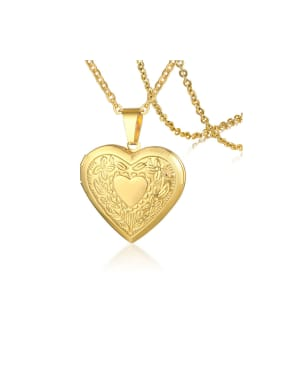 Stainless Steel With Gold Plated Simplistic Pattern Heart Necklaces