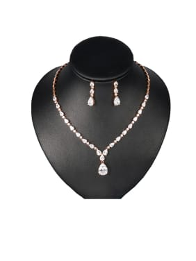 Copper With  Cubic Zirconia  Classic Water Drop Earrings And Necklaces 2 Piece Jewelry Set