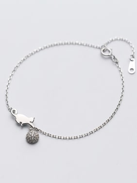 Fashionable Adjustable Cat Shaped Crystals S925 Silver Bracelet