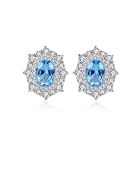 925 Sterling Silver With Platinum Plated Delicate multilateral  Geometric Stud Earrings