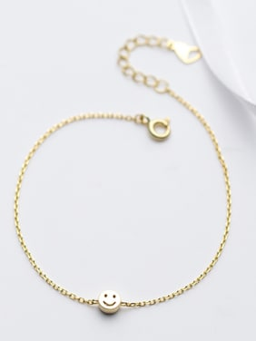 Lovely Gold Plated Smiling Face Zircon S925 Silver Bracelet