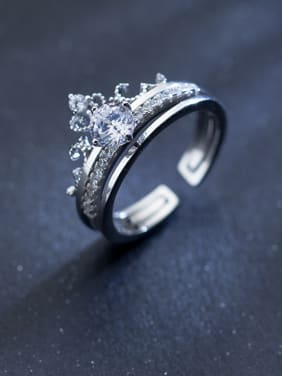 925 Sterling Silver With Platinum Plated Classic Crown Rings