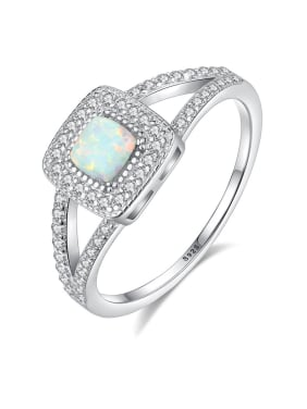 925 Sterling Silver With Opal  Personality Geometric Band Rings