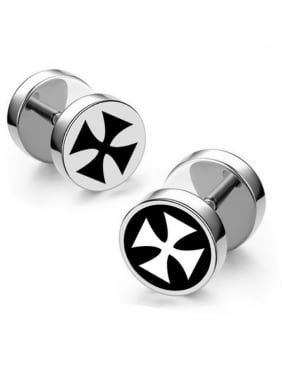 Stainless Steel With Silver Plated Fashion Cross Stud Earrings