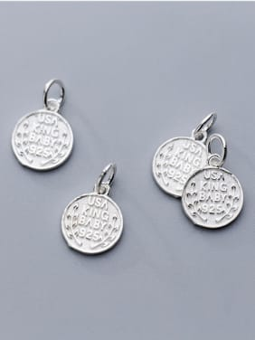 Thai Silver With Silver Plated Personality Round Charms