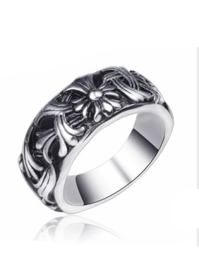 Stainless Steel With Antique Silver Plated Trendy Round Rings