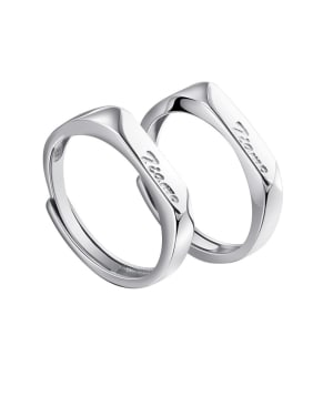 925 Sterling Silver With  Monogrammed   Simplistic Lovers  Free Size Rings