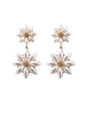 Alloy With Rose Gold Plated Personality Flower Drop Earrings