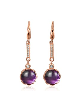 Natural Amethyst Round Rose Gold Plated Drop Earrings