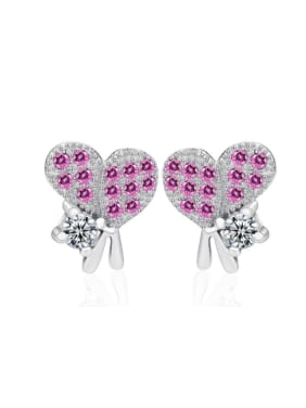Heart-shape Micro Pave Amethysts Stud Earrings