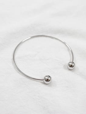 925 Sterling Silver With Platinum Plated Simplistic Double ball free size Bracelet