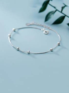 925 Sterling Silver With Platinum Plated Simplistic Chain Bracelets