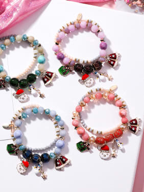 Alloy With Fresh and Sweet Santa Claus Bell Snowman Double Bracelet
