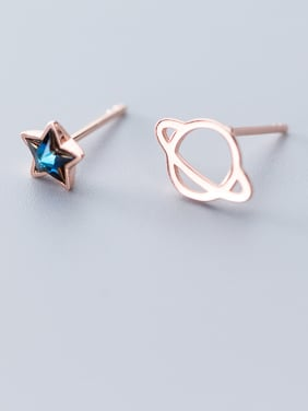 925 Sterling Silver WithCubic Zirconia Cute Planet Star Asymmetry Stud Earrings