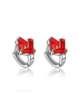 Exquisite Red Platinum Plated Square Zircon Clip Earrings