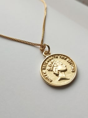Pure silver 18K-gold coin Necklace