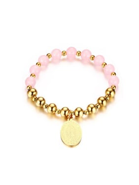 Women Pink Oval Shaped Stone Titanium Bracelet