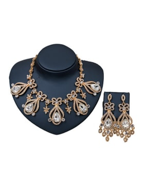 Water Drop Glass Rhinestones Two Pieces Jewelry Set